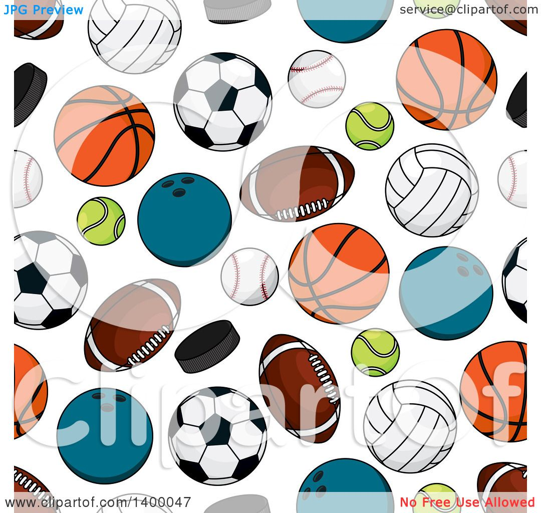 Clipart Of A Seamless Background Pattern Of Sports