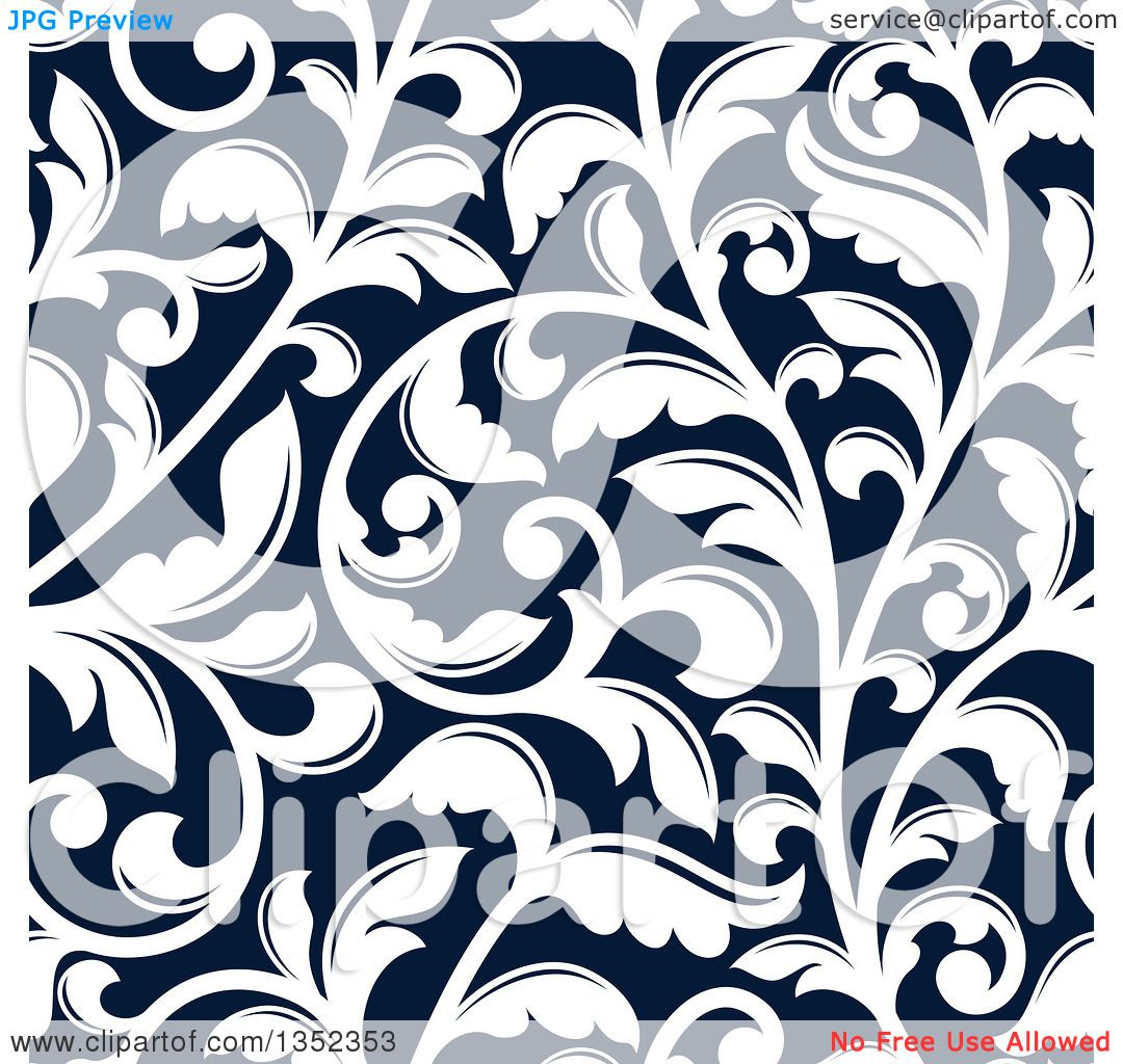 Clipart Of A Seamless Background Pattern White Vintage Floral Scrolls On Dark Blue