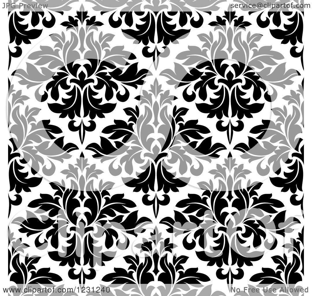 Clipart of a Seamless Black and White Arabesque Damask ...