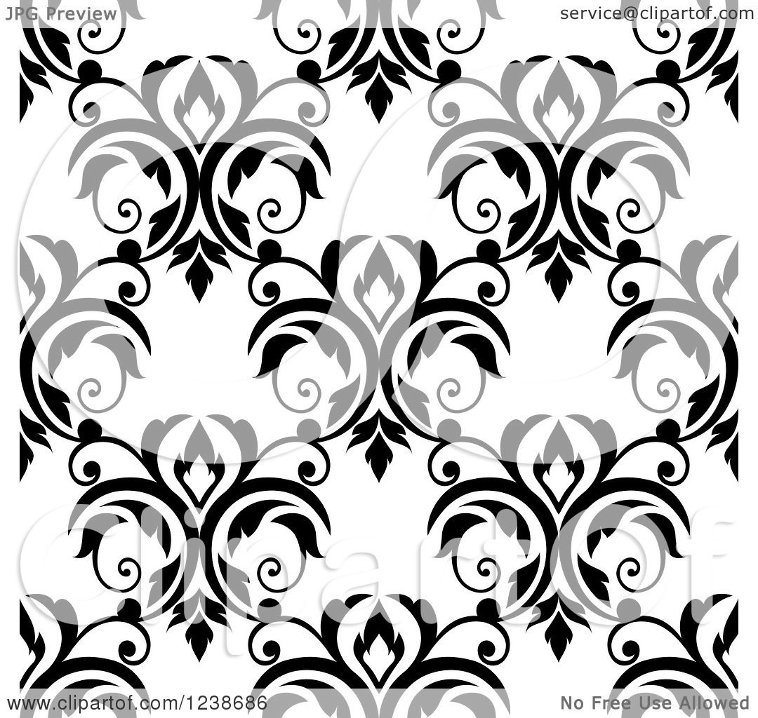 Clipart of a Seamless Black and White Damask Background ...