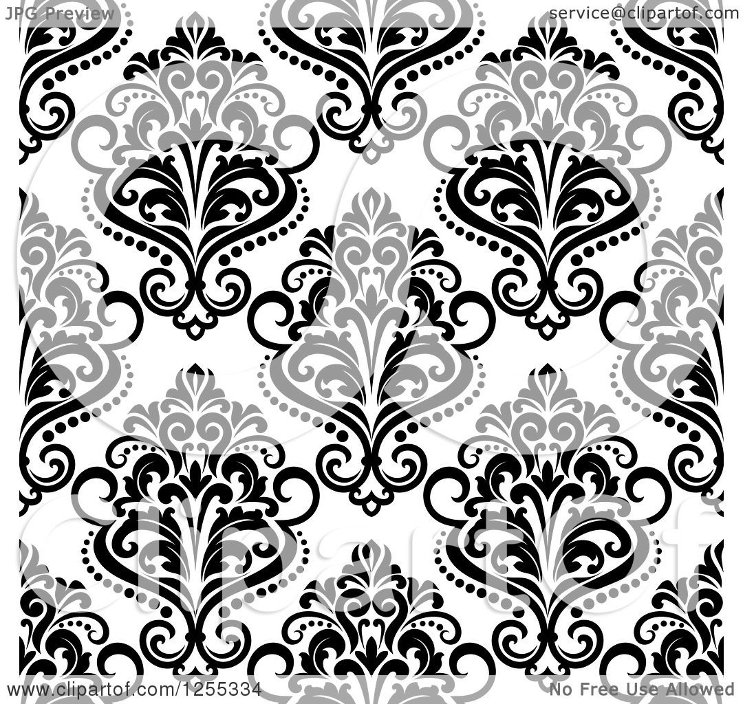 Clipart Seamless Black And White Floral Diamond Pattern