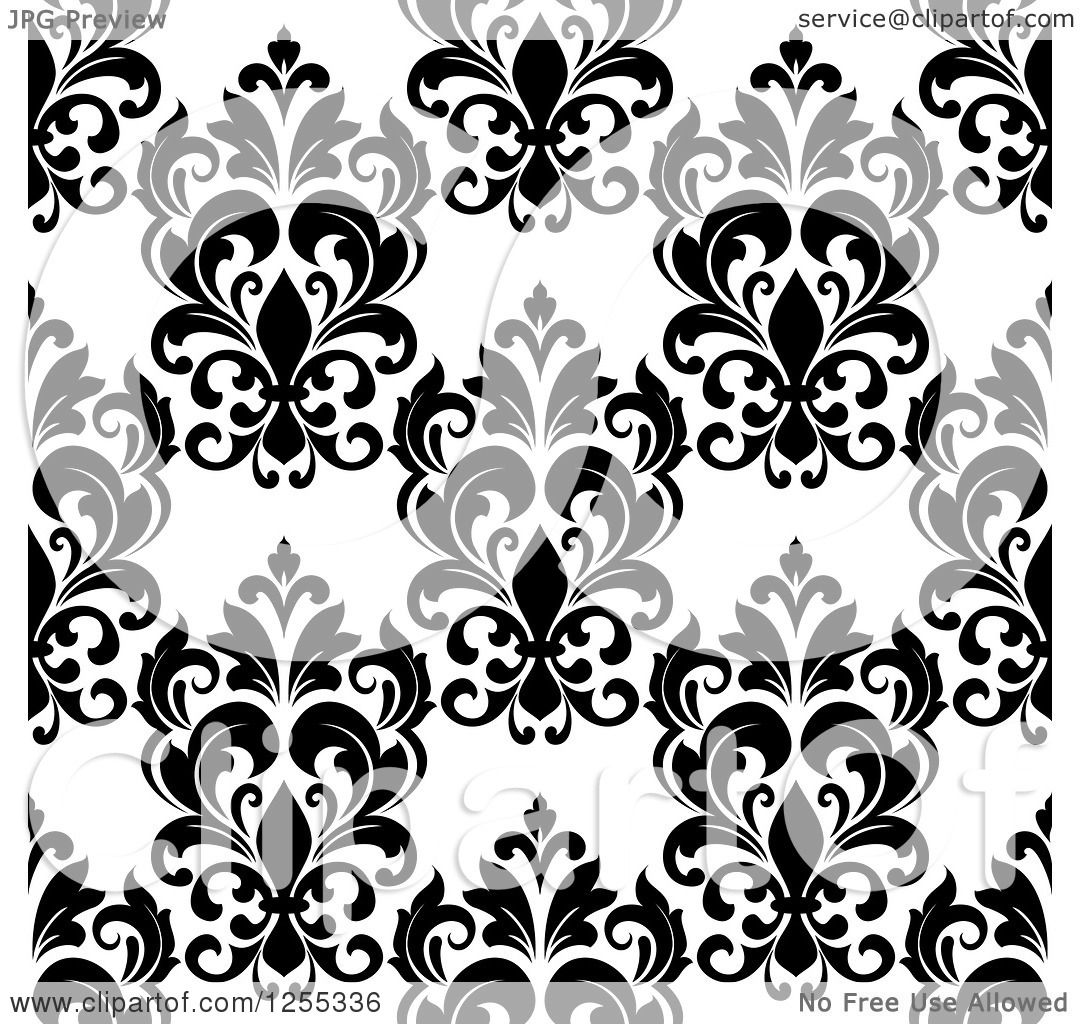 Clipart Seamless Pink Purple And Green Floral Burst: Clipart Of A Seamless Black And White Damask Pattern