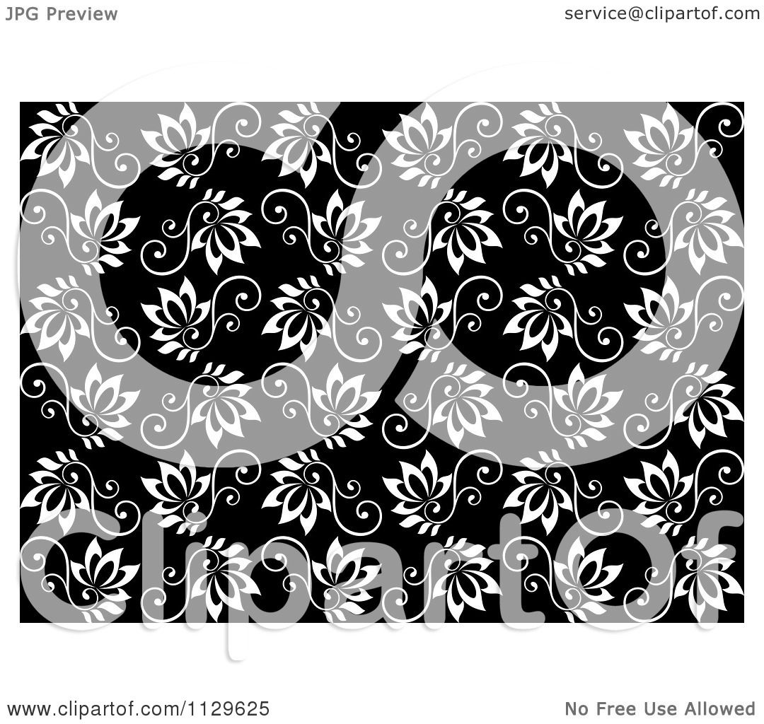 Black Flower On White Background Royalty Free Stock: Clipart Of A Seamless Black And White Floral Vine