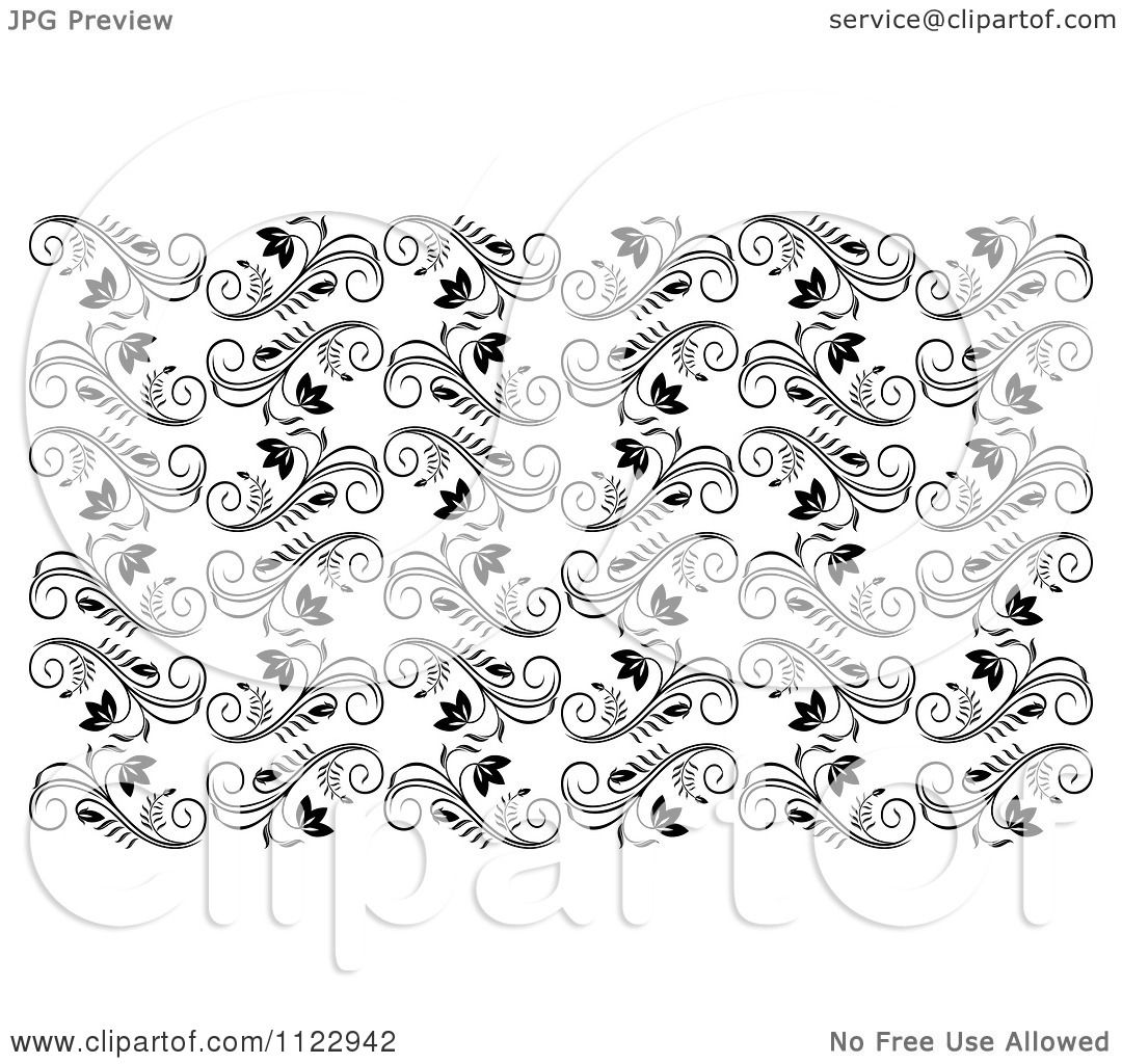 clipart of a seamless black and white floral vine