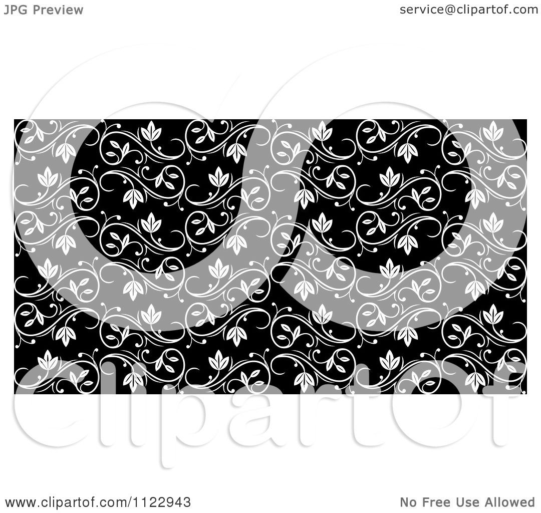 Black Flower And Vines Pattern Royalty Free Stock Image: Clipart Of A Seamless Black And White Floral Vine