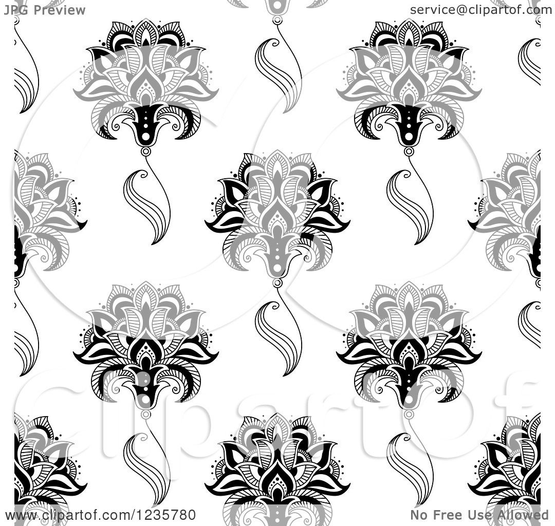 Clipart of a Seamless Black and White Henna Flower Pattern ...