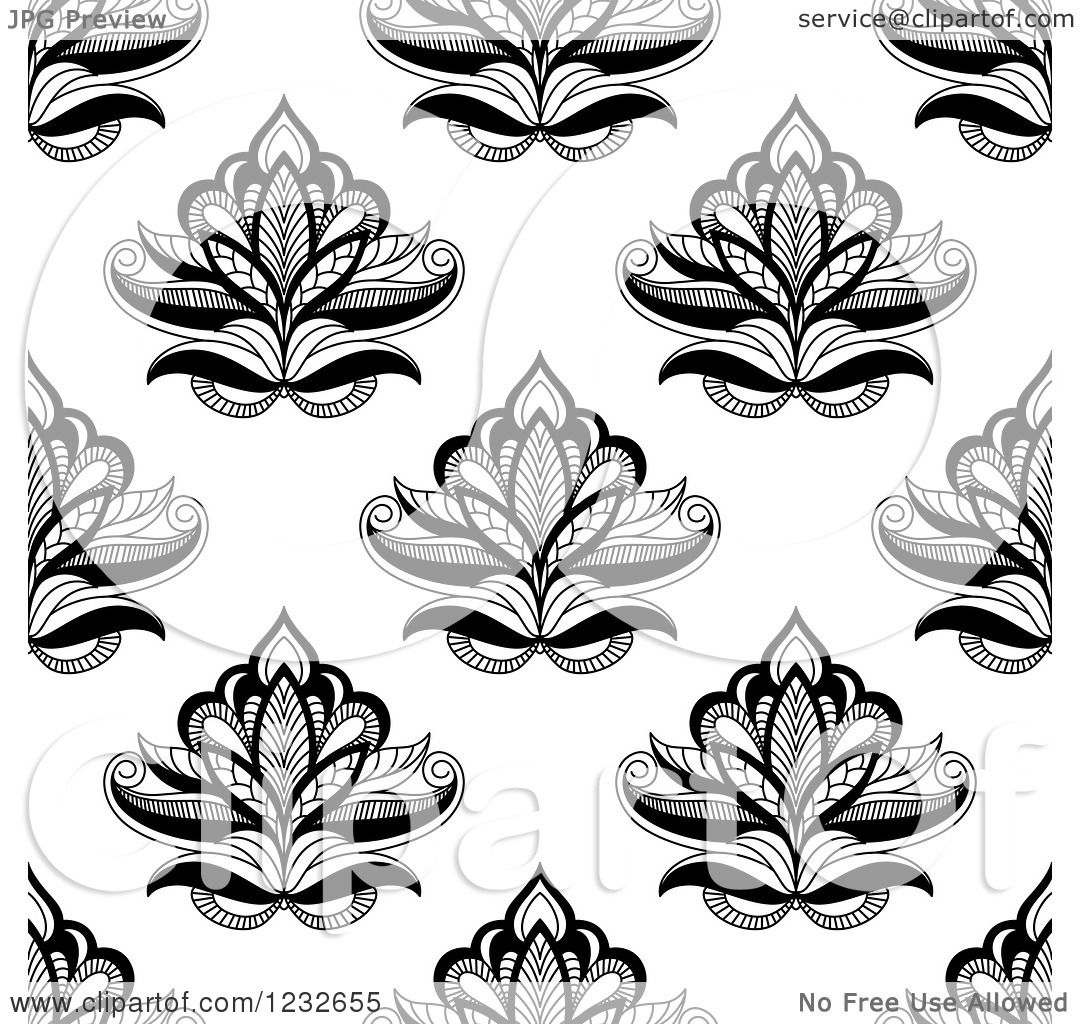 Clipart Of A Seamless Black And White Henna Lotus Flower