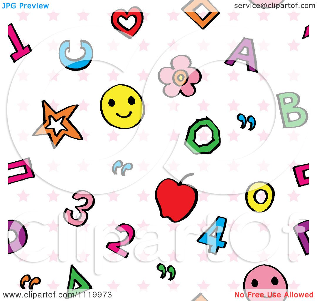 Clipart Of A Seamless Numbers Letters And Stars Education ...