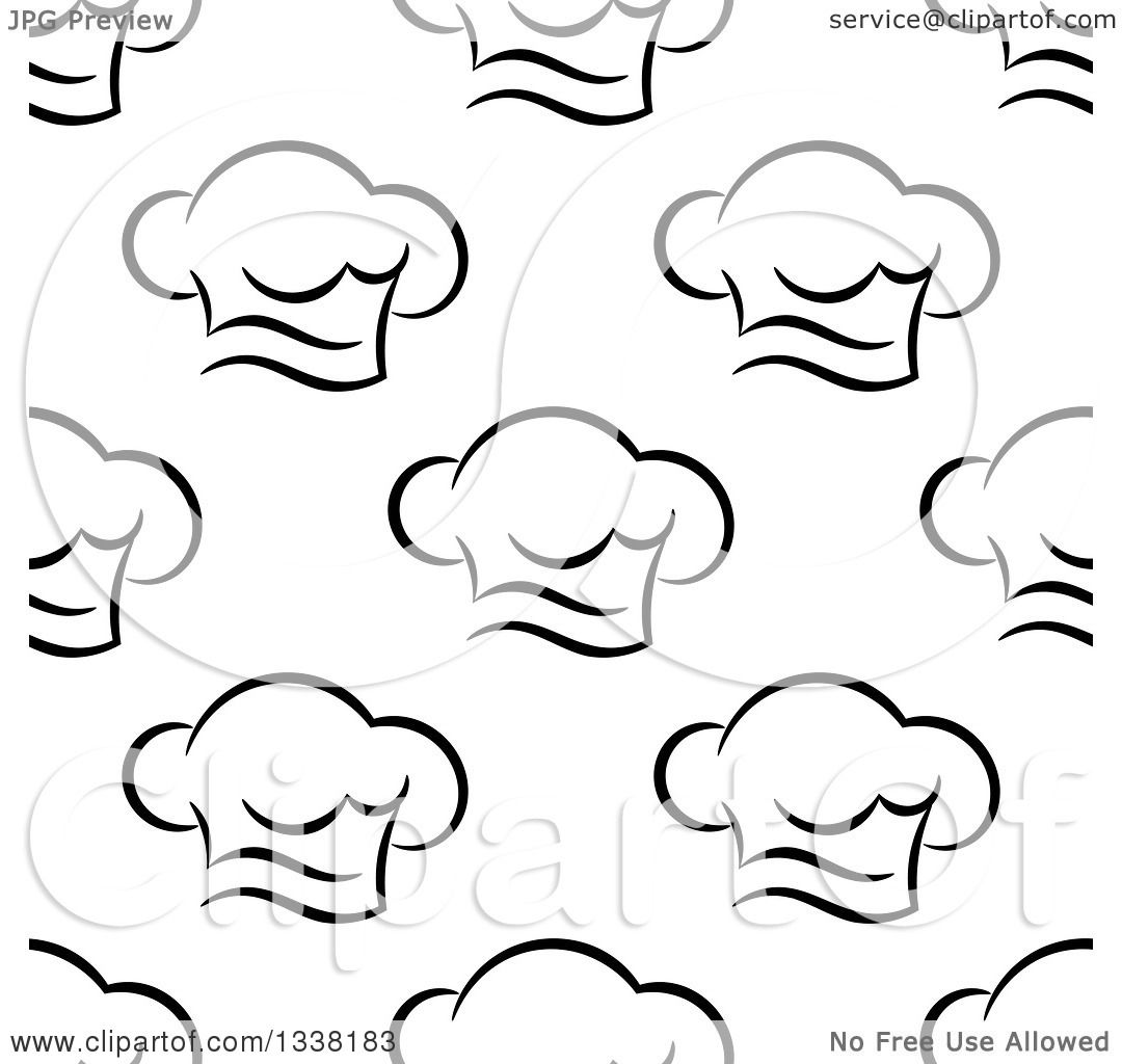 f20cb9a5782 Clipart of a Seamless Pattern Background of Black and White Chef Hats 2 -  Royalty Free