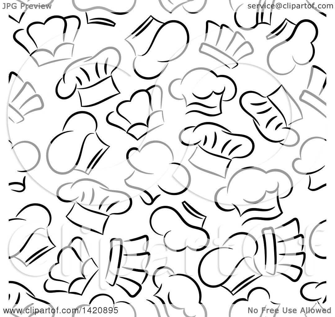 4d78f70e7b9 Clipart of a Seamless Pattern Background of Chef Hats - Royalty Free Vector  Illustration by Vector