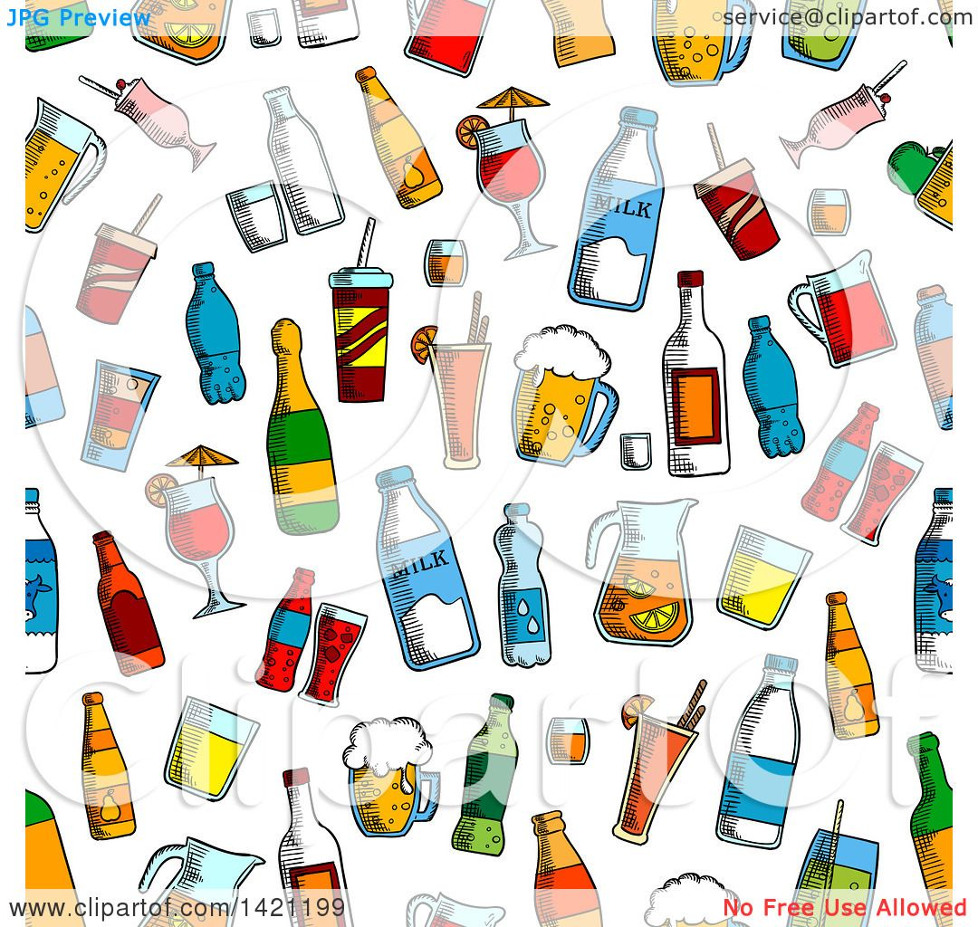 Clipart of a Seamless Pattern Background of Drinks - Royalty