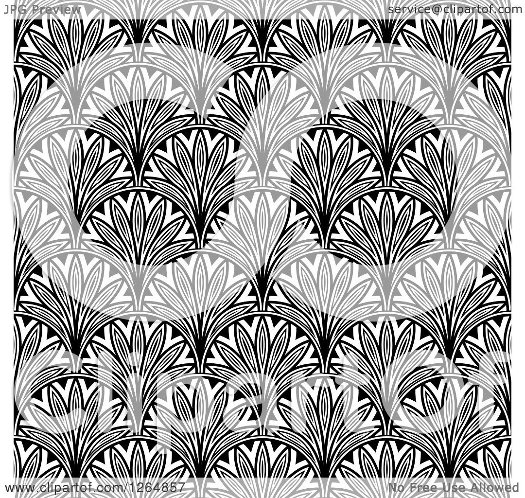 Clipart of a Seamless Pattern Background of Black and