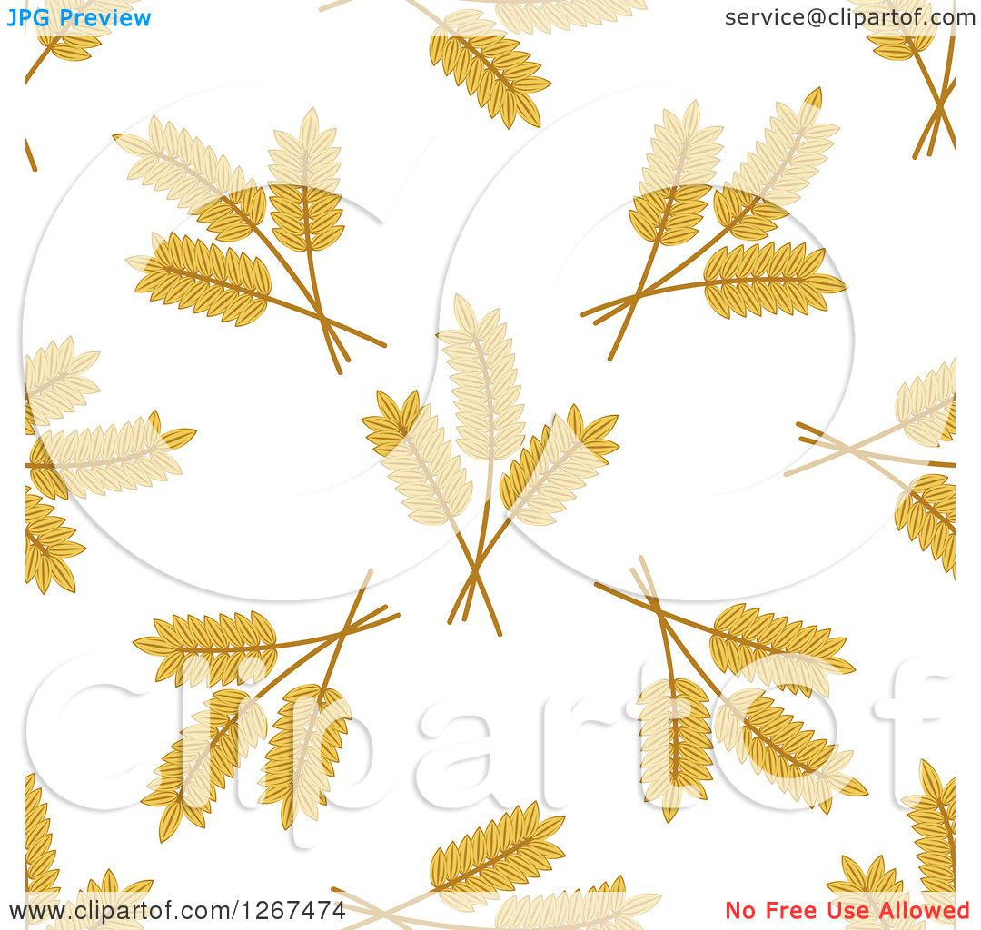 Clipart of a Seamless Pattern Background of Wheat on White ...