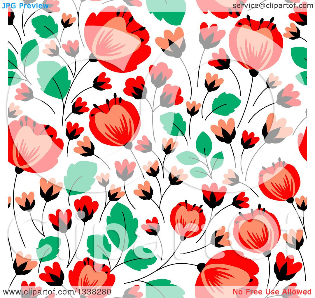 Clipart of a Seamless Red Poppy Flowers and Green Leaves Floral ...