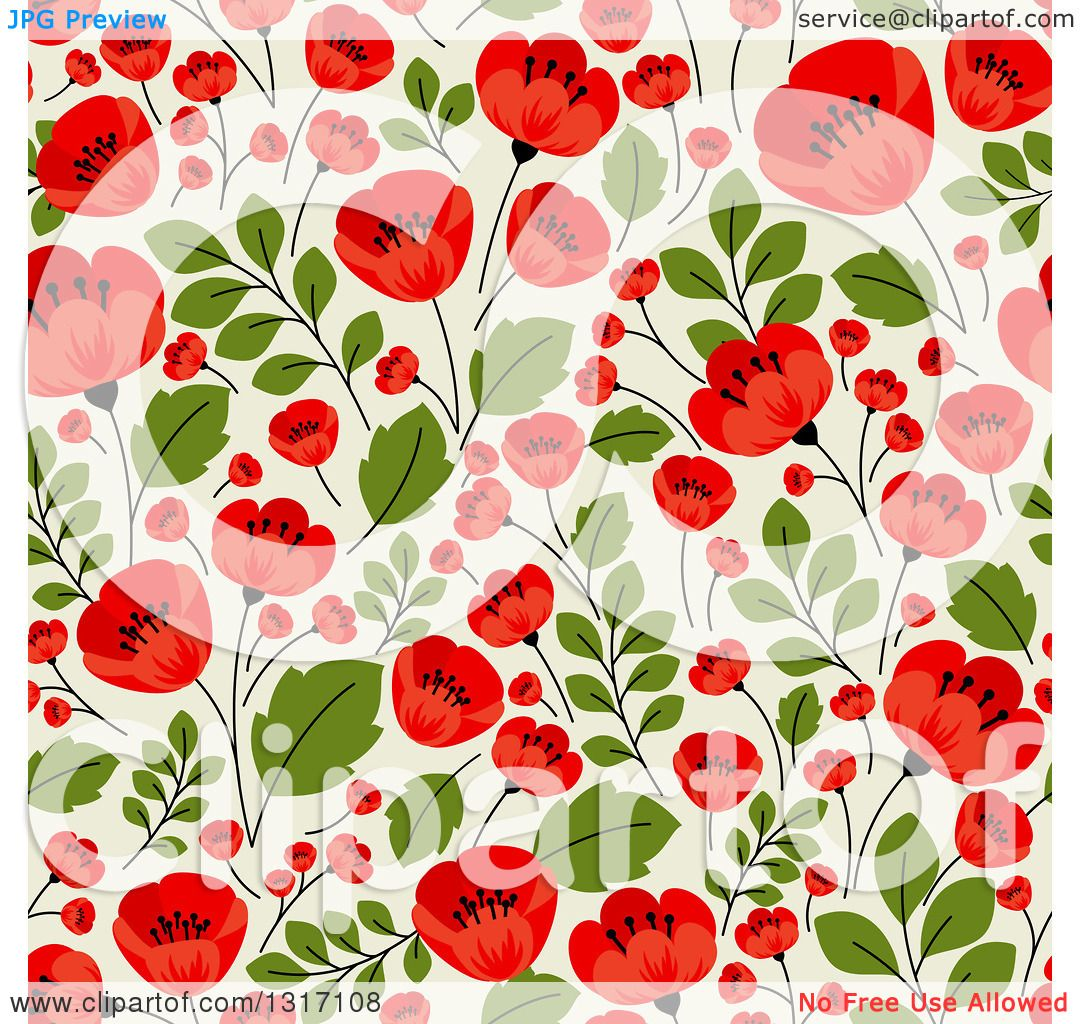 Clipart Of A Seamless Red Poppy Flowers On Green Floral Background