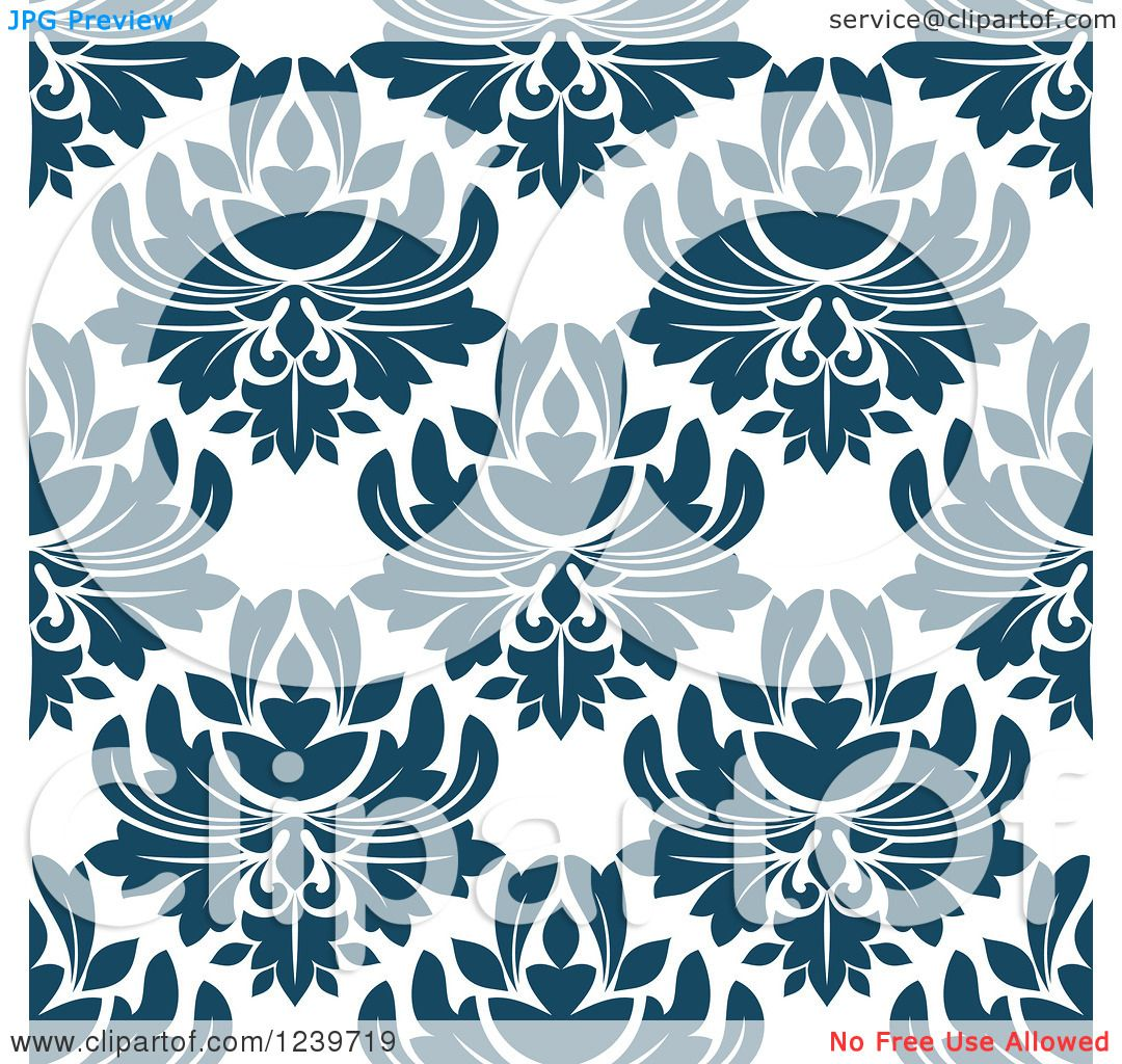 Clipart of a Seamless Teal Damask Background Pattern ...