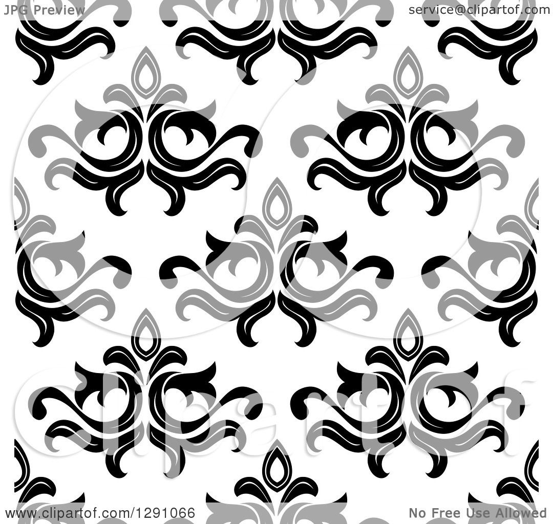 Black Flower On White Background Royalty Free Stock: Clipart Of A Seamless Vintage Black And White Floral