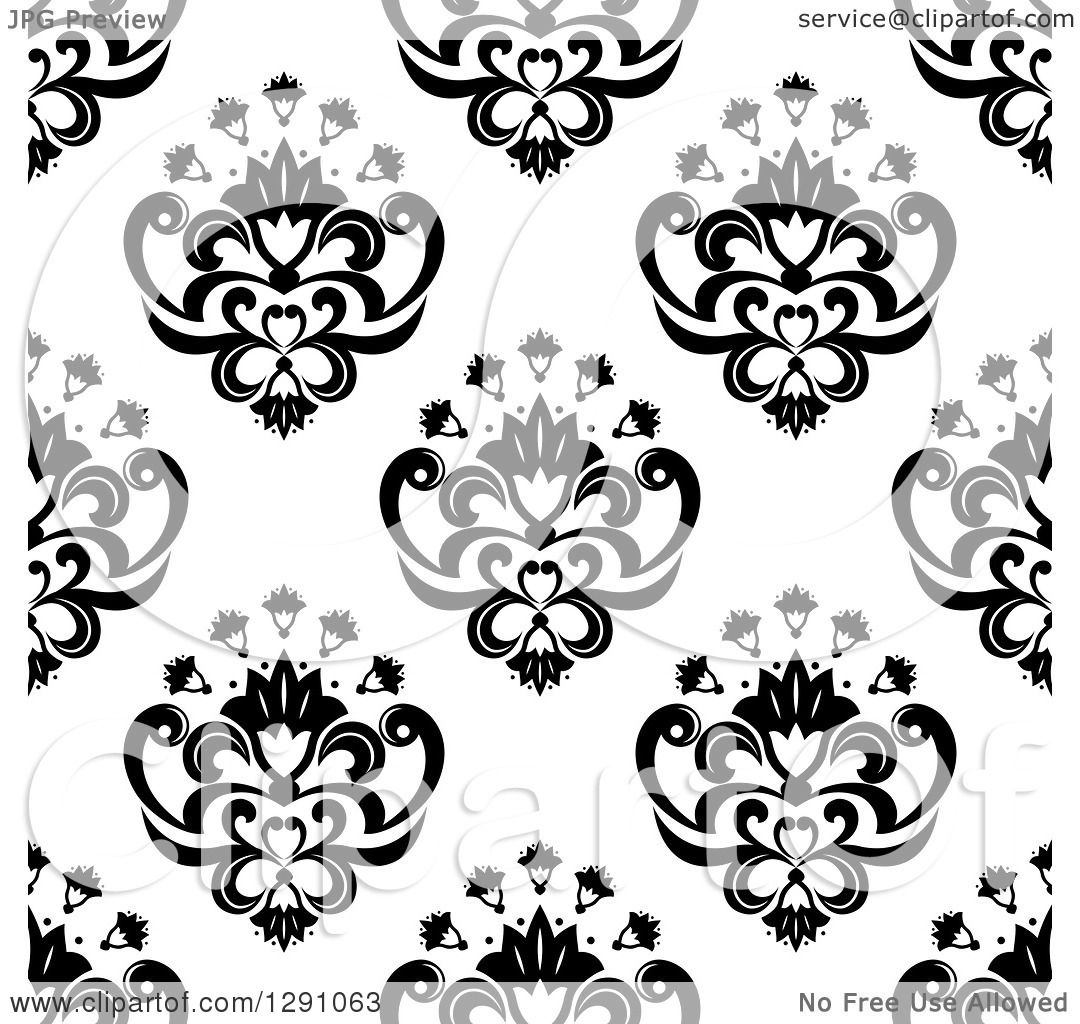Clipart Of A Seamless Vintage Black And White Floral