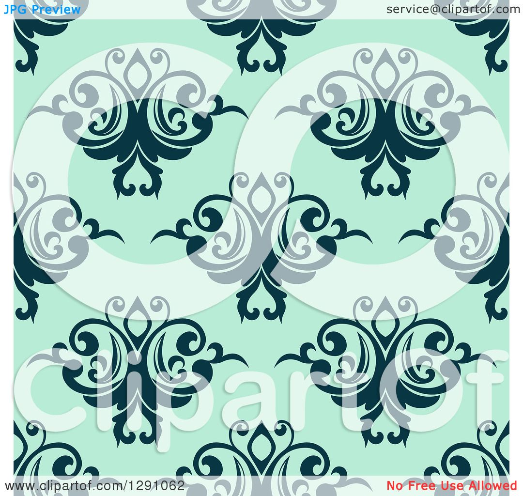 Clipart Of A Seamless Vintage Pattern Background Of Navy Blue