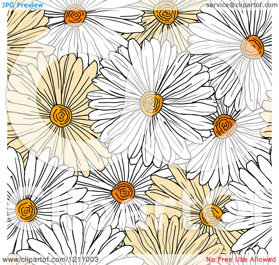 Clipart Of A Seamless Yellow And White Daisy Flower Pattern