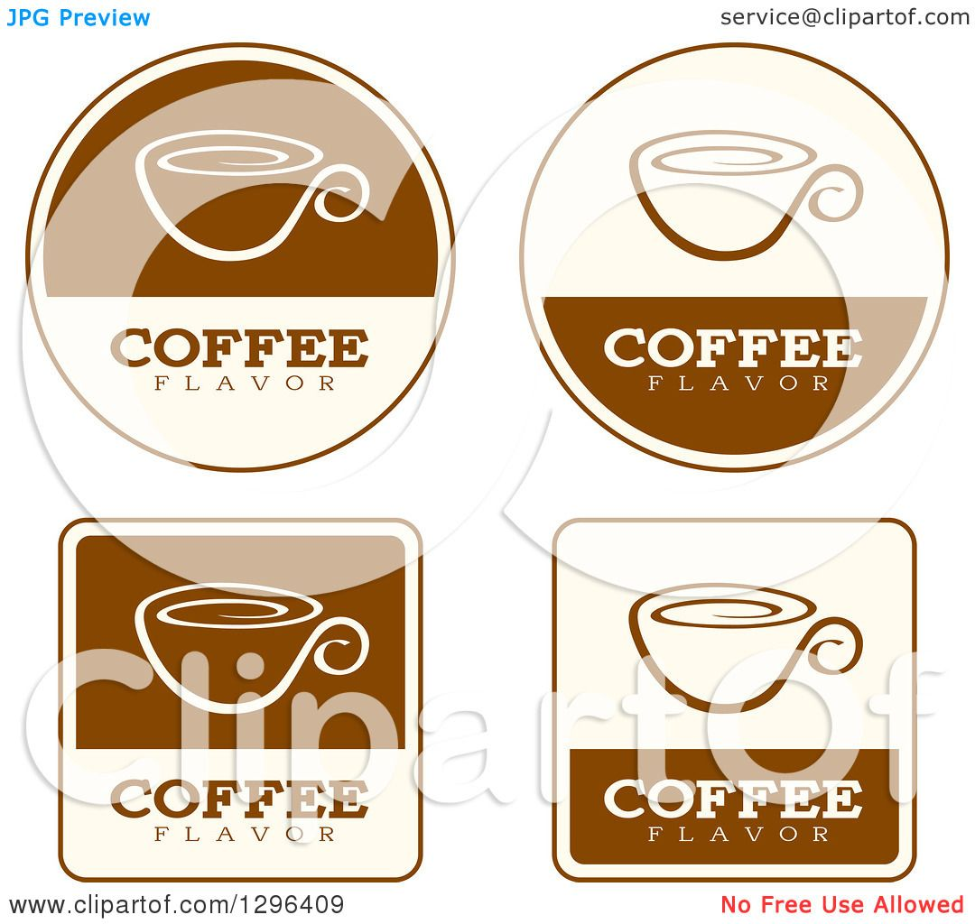 Clipart of a Set of Brown and Beige Coffee Flavor Labels ...