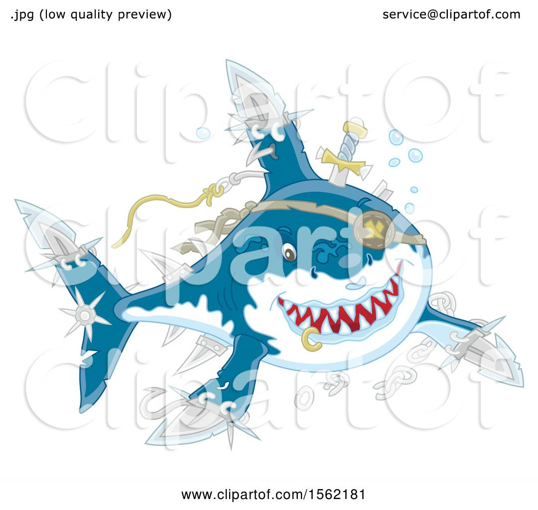 b112954c9ee34 Clipart of a Shark Pirate with Blade Extensions - Royalty Free Vector  Illustration by Alex Bannykh
