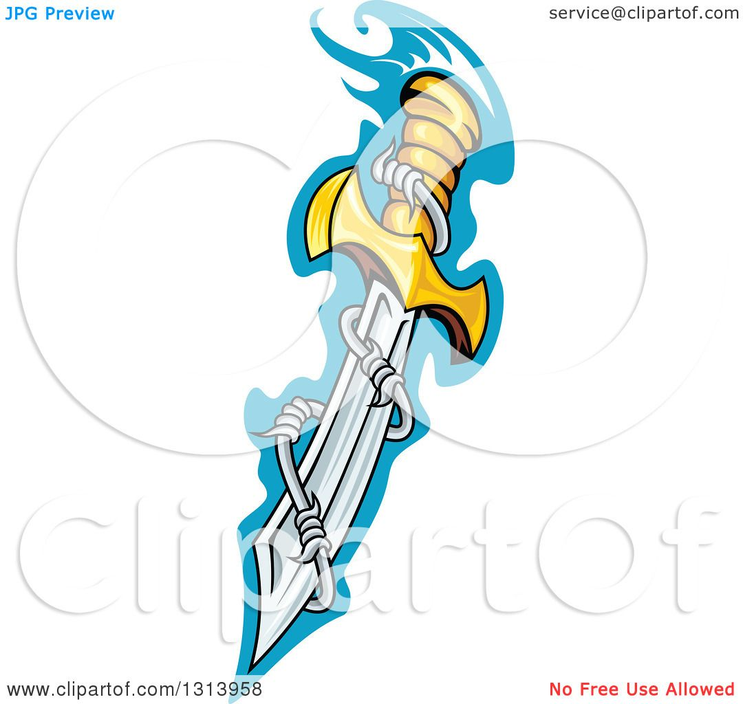Clipart of a Sharp Dagger Blade with Barbed Wire over Blue - Royalty ...