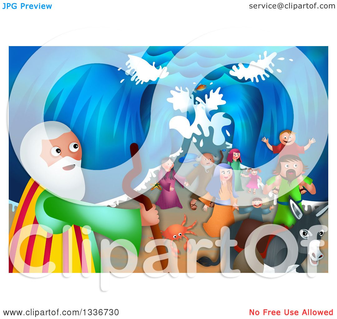 Clipart of a Shavout Scene of Moses, a Donkey and People of Israel ...