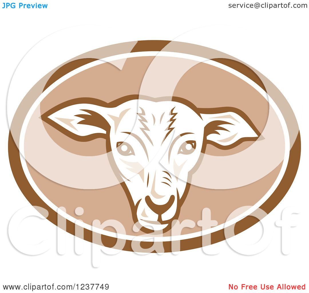 Clipart of a Sheep Head in a Brown Oval - Royalty Free Vector ...