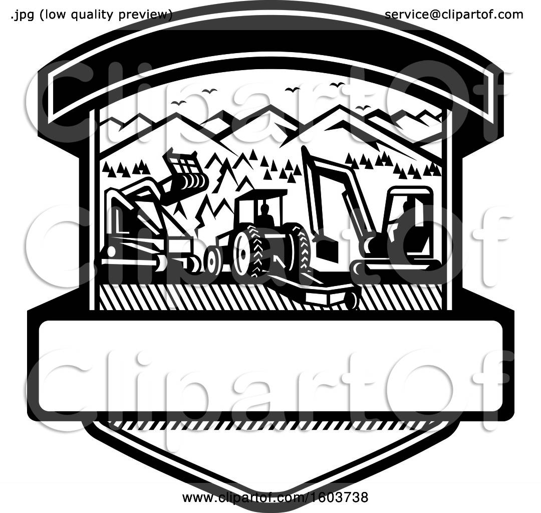 Clipart Of A Shield With Heavy Equipment Used In Tree