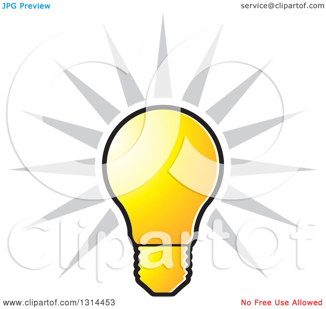 Clipart of a Shining Bright Yellow Light Bulb and Gray Rays ... for Bright Light Bulb Clipart  173lyp