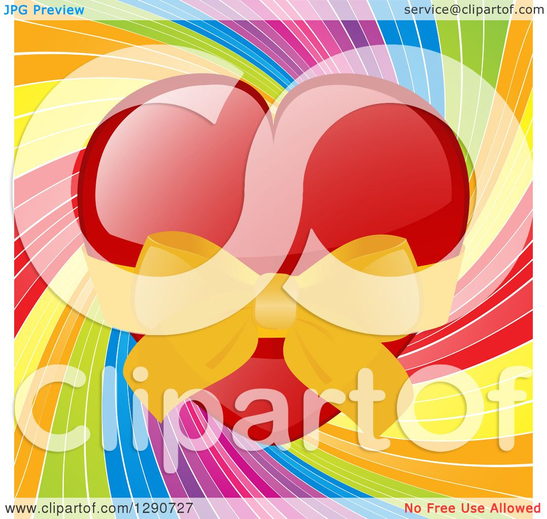 Clipart of a Shiny Red Valentine Love Heart Wrapped Ina ...