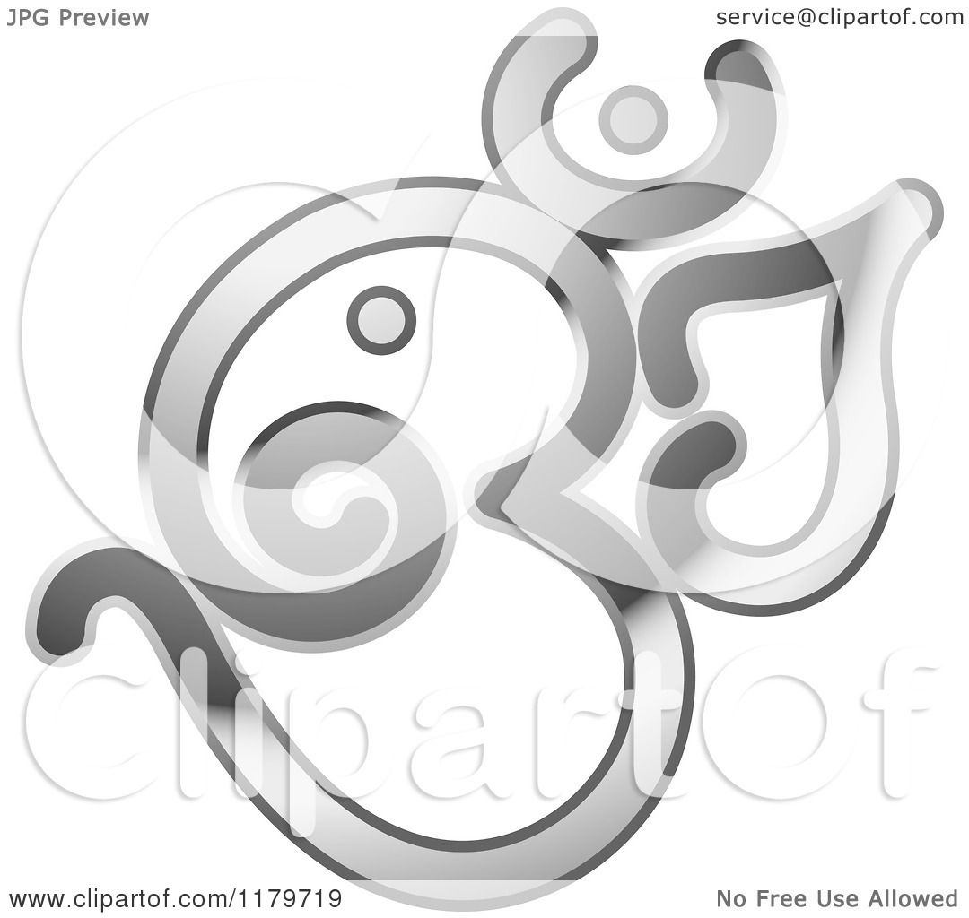 Clipart of a Shiny Reflective Silver Om or Aum Hinduism