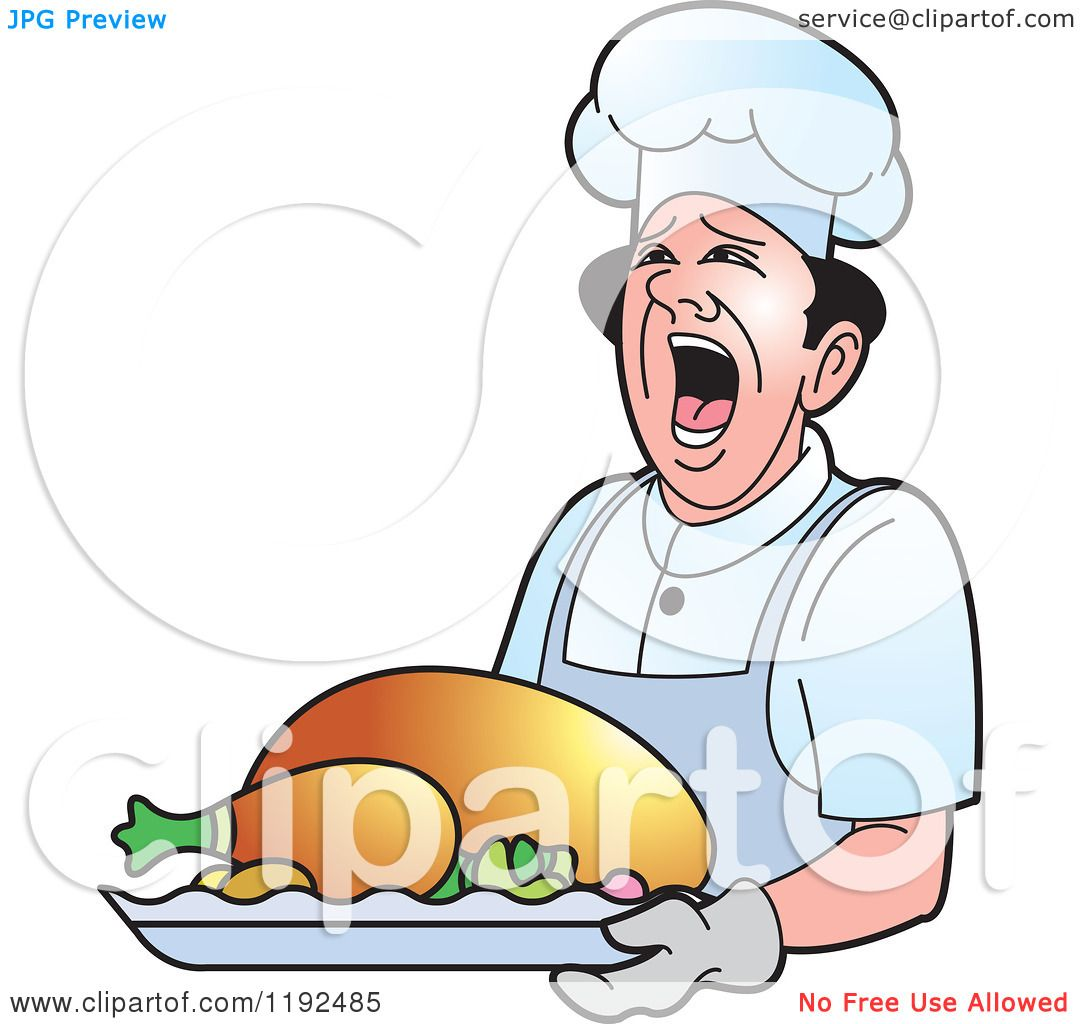 clipart of a shouting male chef holding a roasted turkey royalty