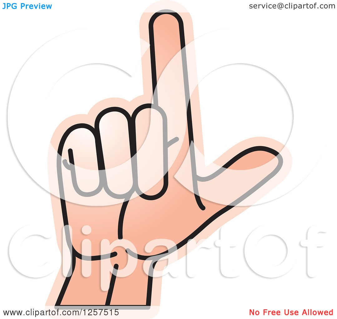 c56b9df5cae7e Clipart of a Sign Language Hand Gesturing Letter L - Royalty Free Vector  Illustration by Lal