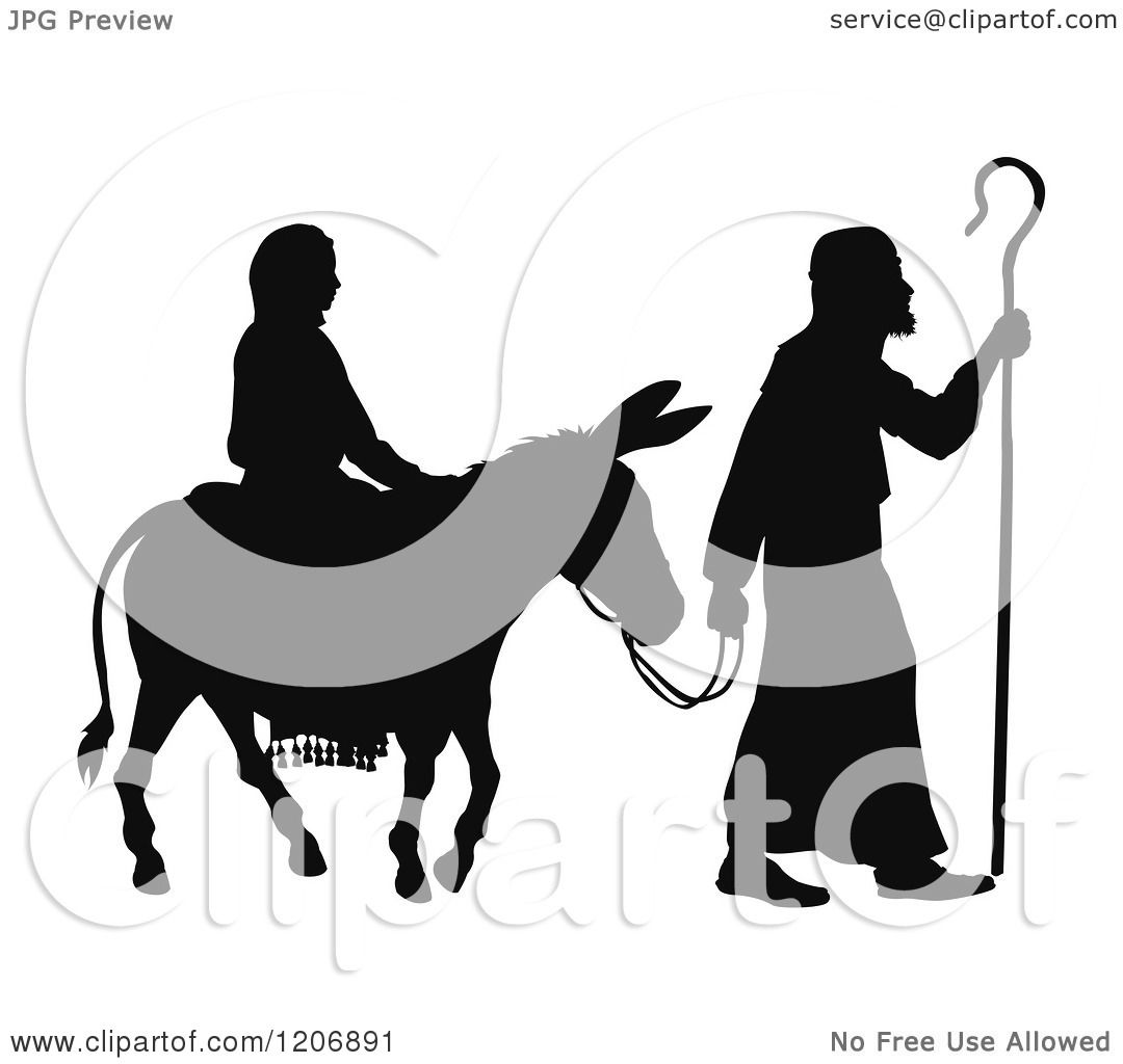 clipart of a silhouette of mary and joseph with a donkey