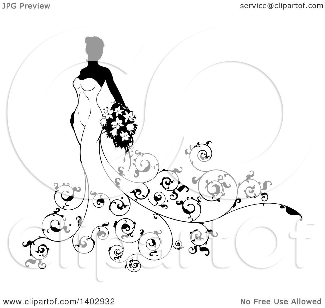 Dress black and white clipart flower