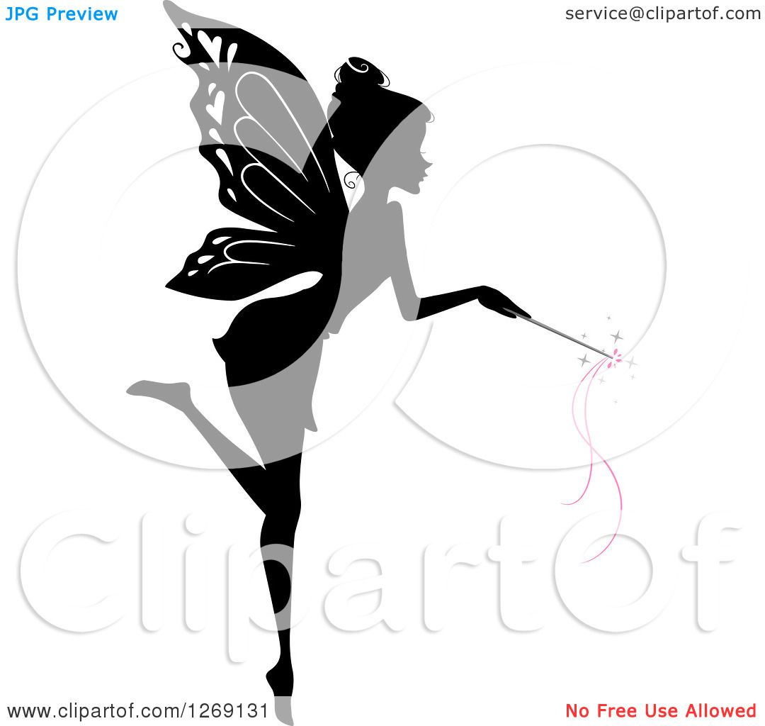 Clipart of a silhouetted black and white flying fairy using a magic