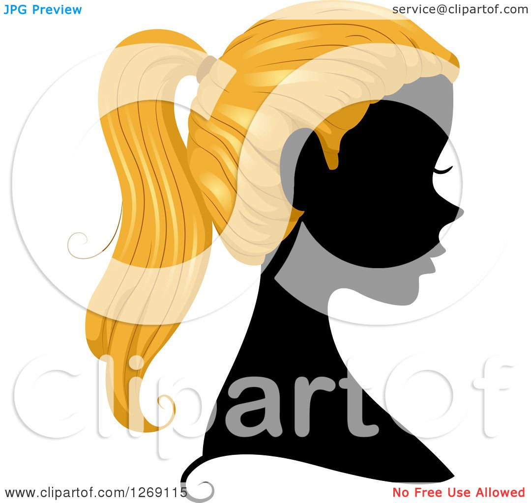 Clipart Of A Silhouetted Black Womans Face With Blond Hair In A Pony Tail Royalty Free Vector Illustration 10241269115