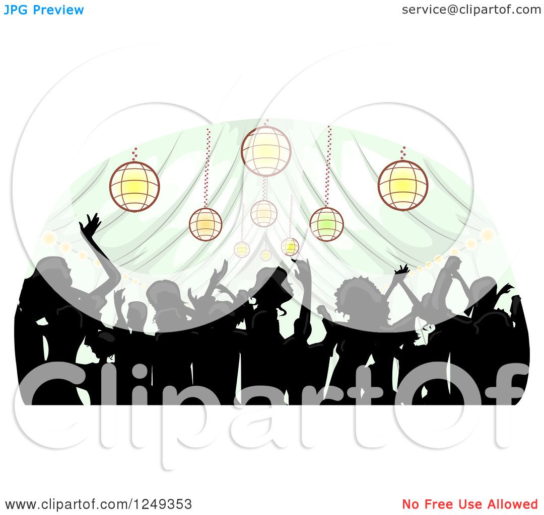Ideas For Wedding Reception Without Dancing: Clipart Of A Silhouetted Crowd Dancing Inside A Wedding