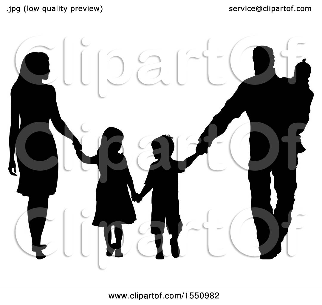 clipart of a silhouetted family holding hands and walking royalty