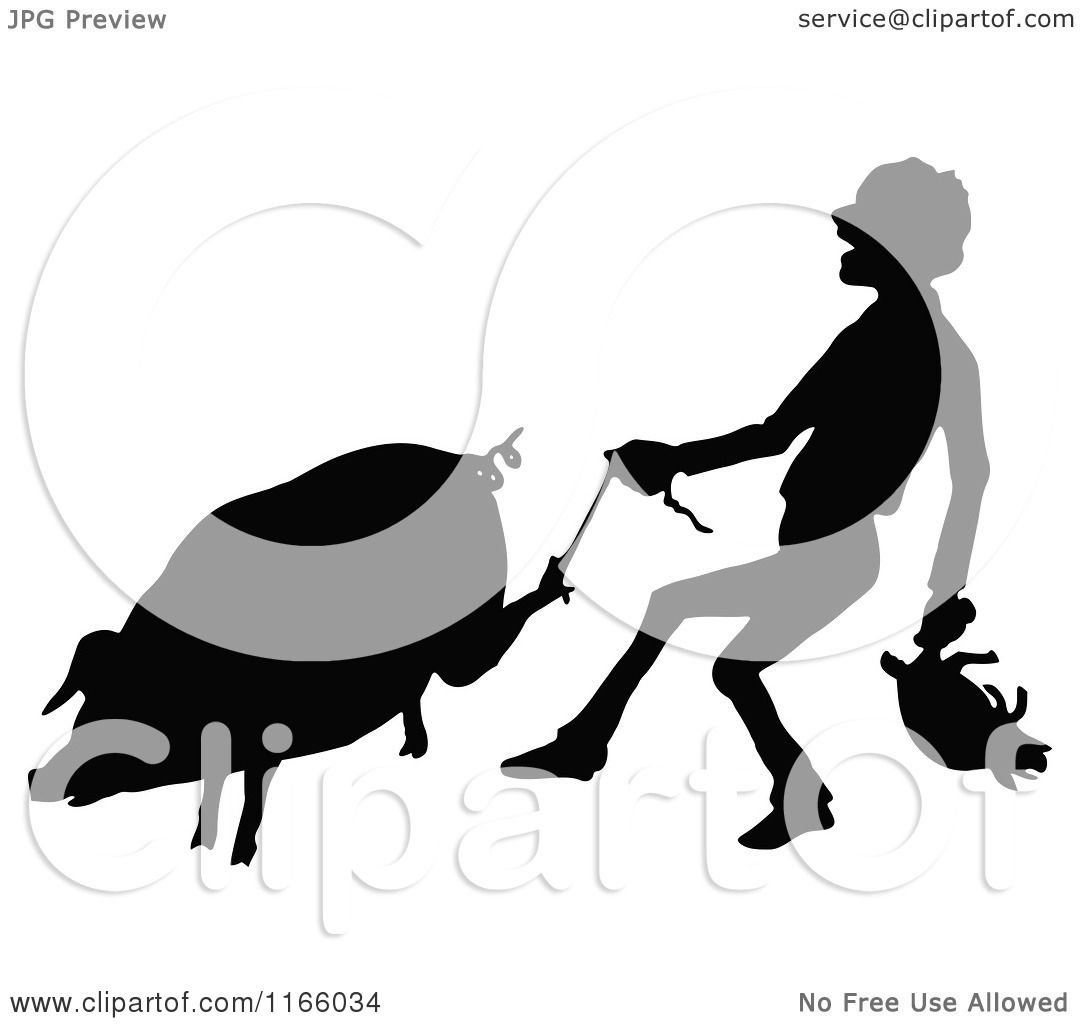 Clipart of a Silhouetted Farmer