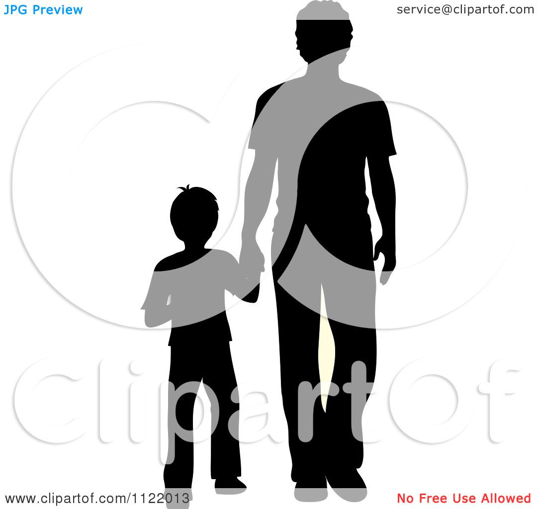 Clipart Of A Silhouetted Father And Son Holding Hands - Royalty ...