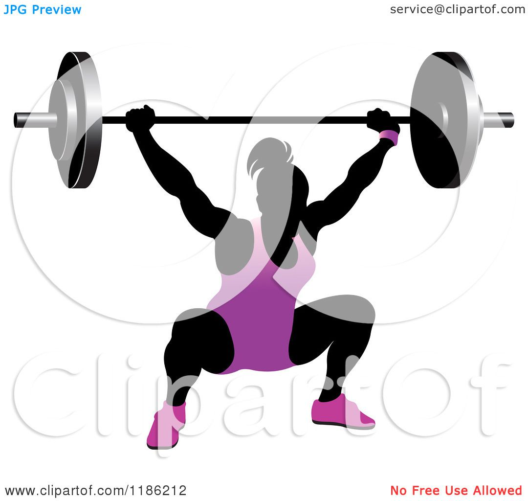 Clipart of a Silhouetted Female Bodybuilder Lifting a ...