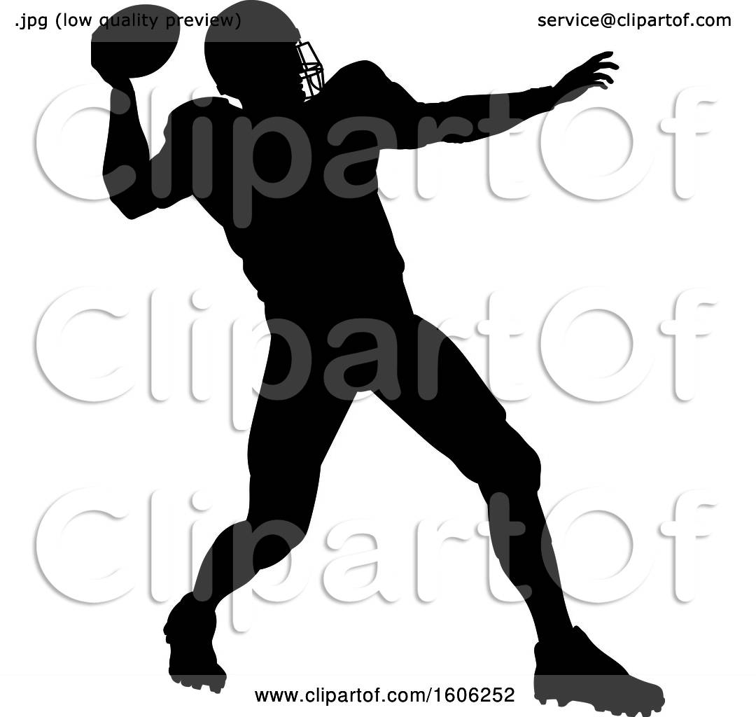 Clipart Of A Silhouetted Football Player Throwing Royalty Free