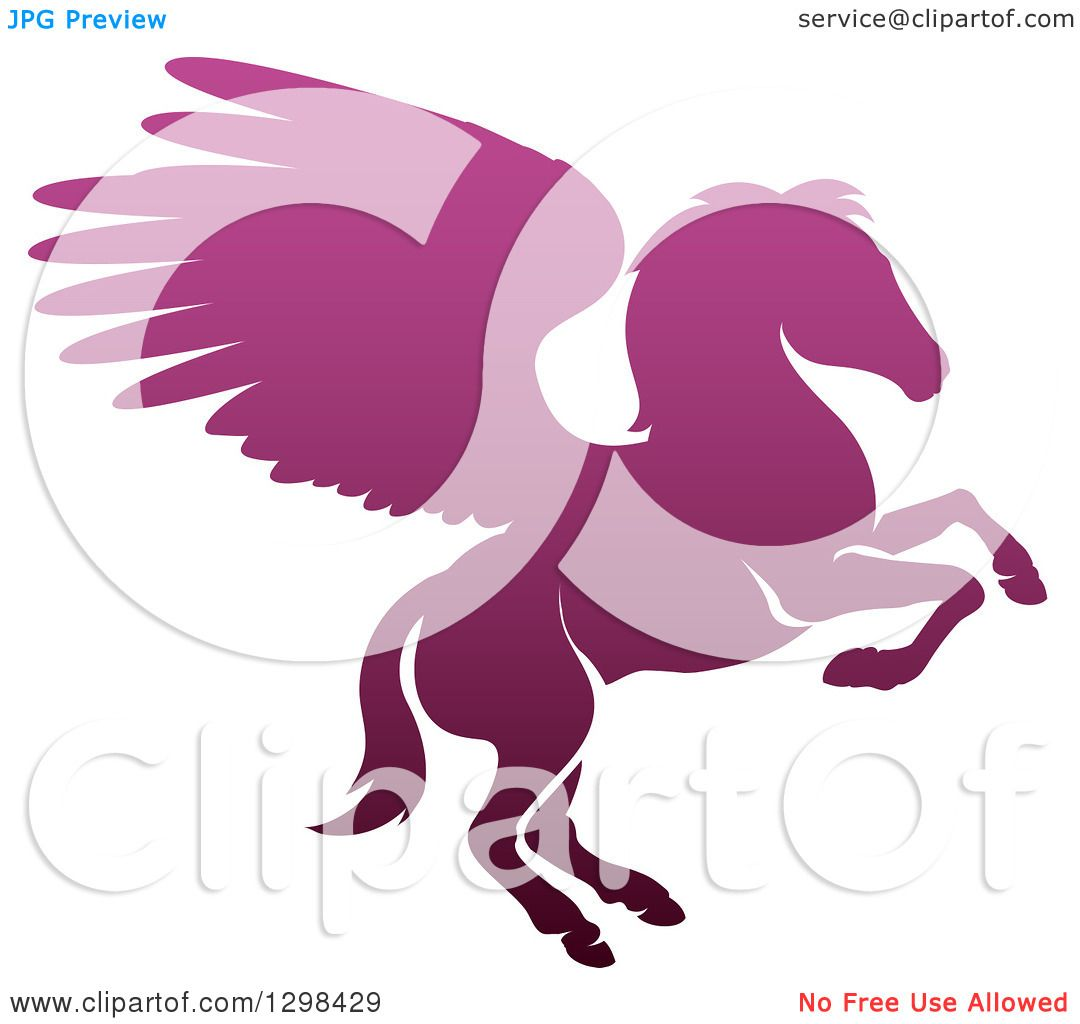 clipart of a silhouetted gradient purple rearing pegasus winged