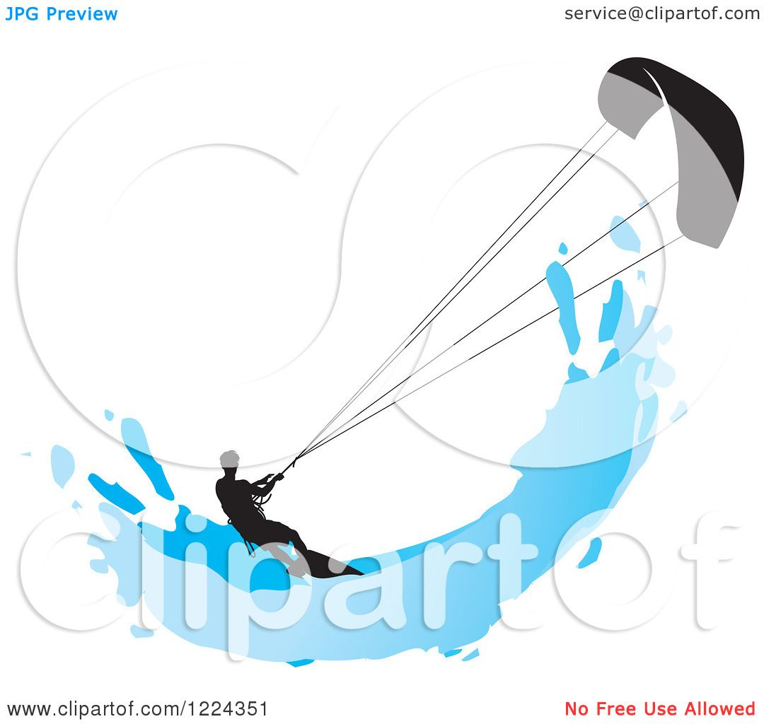 Clipart Of A Silhouetted Kite Surfer With A Blue Splash