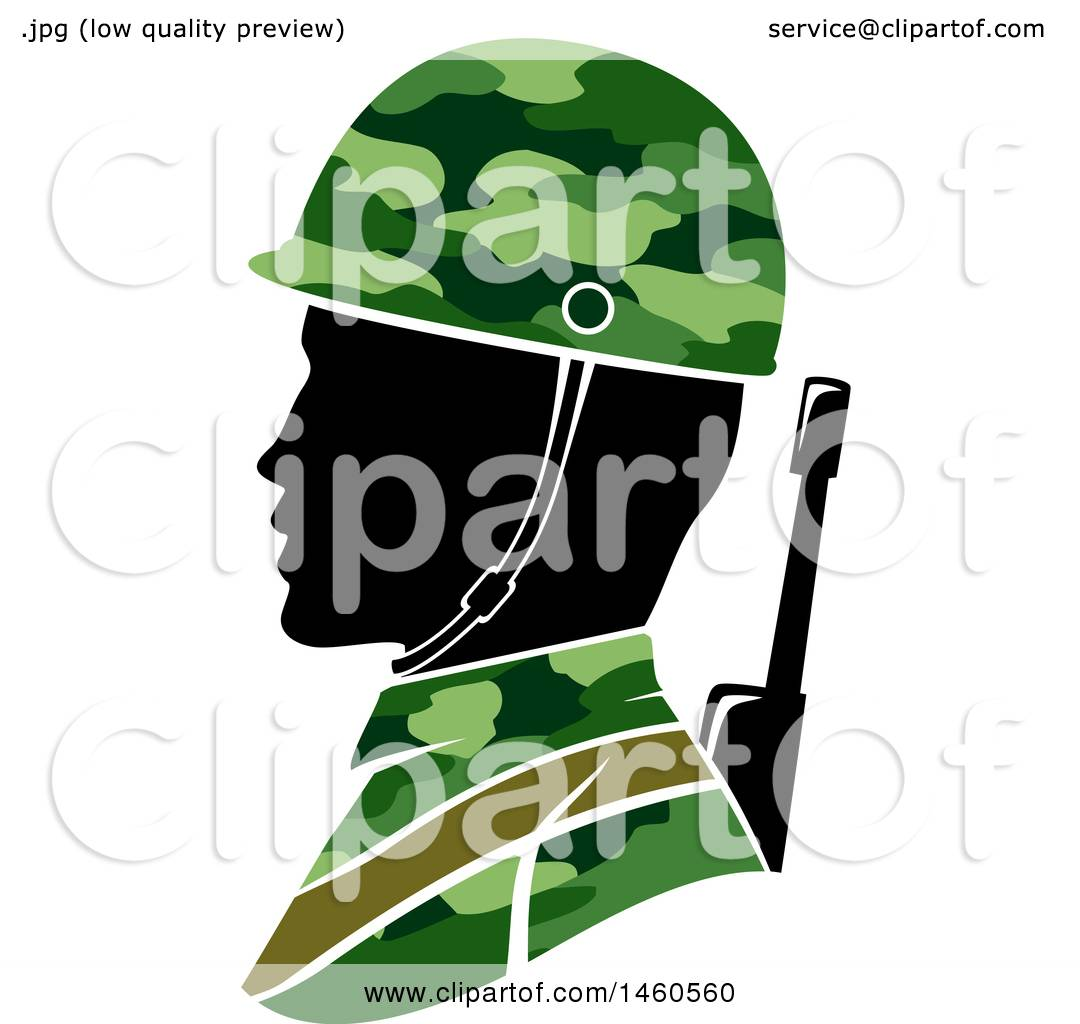 Clipart of a Silhouetted Male Army Soldier in Profile - Royalty Free