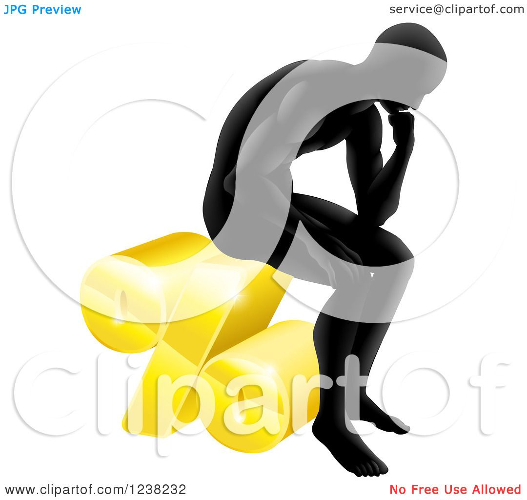 Clipart of a silhouetted man thinking and sitting on a 3d - Clipart illustration ...
