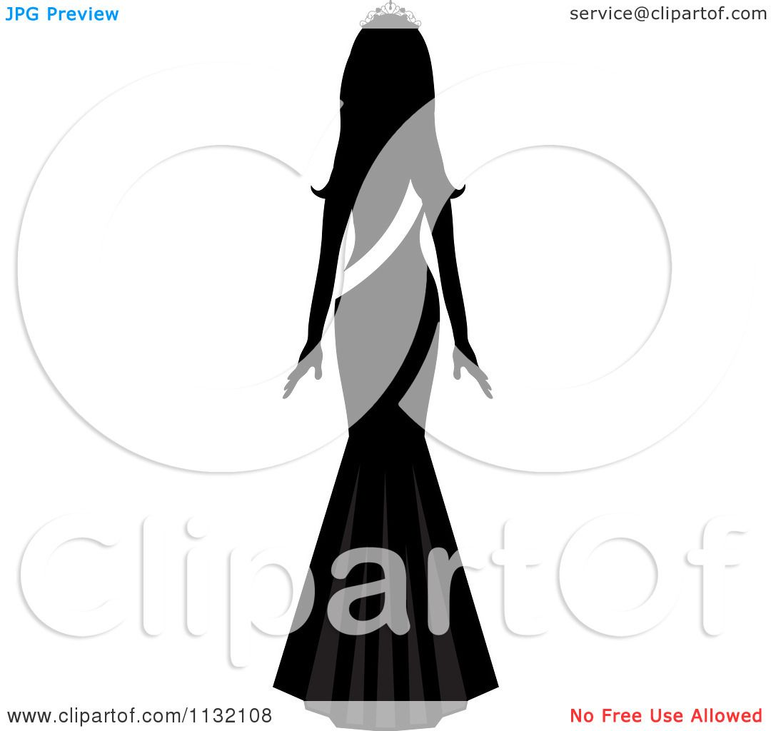 Clipart Of A Silhouetted Miss America Beauty Pageant Winner With A